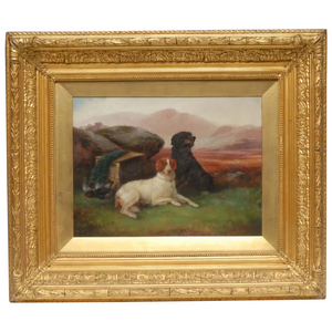 "19th Century Victorian Oil Painting Hunting ""Game Dogs"" Signed Robert Cleminson (1864-1903)"
