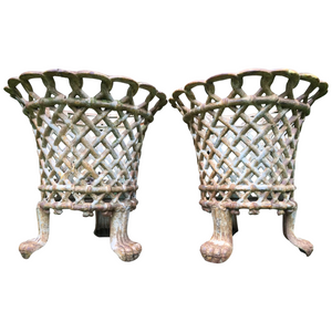 Pair English Architectural Coalbrookdale Style Antique Garden Cast Iron Lattice Urn Planters Claw Feet