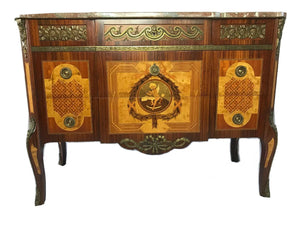 French Empire Regency Style Marble Canted Marquetry Credenza Chest