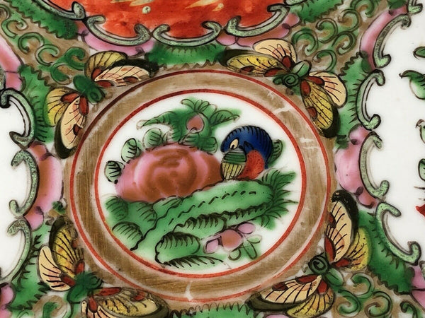 Antique Porcelain Chinese Temple Famille Rose Hand Painted Floral Birds Charger