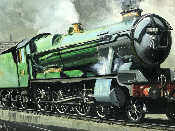 Fine Art Oil Painting Railway Steam Train Engine County Bucks 1001 Signed D Hey
