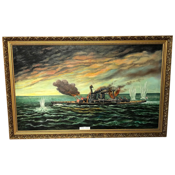 "Large Marine Oil Painting WW2 Sea Battle ""HMS Battleship Hood The Last Moments"""