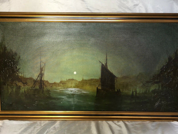 Large Dutch School Impressionist Marine Oil Painting Ships In Port By Moonlight