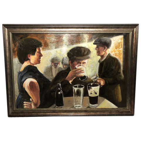 Contemporary Oil Painting Great Western Railway Figures Drinking Working Mens Club Ken White
