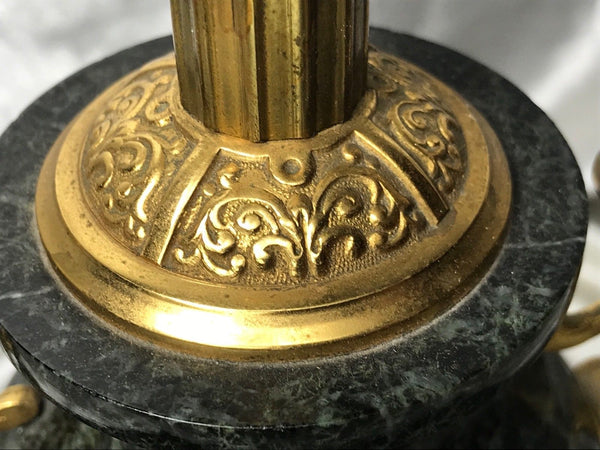 Fine Early 20th Century 1930's Art Deco English Gilt Bronze Marble Lamp