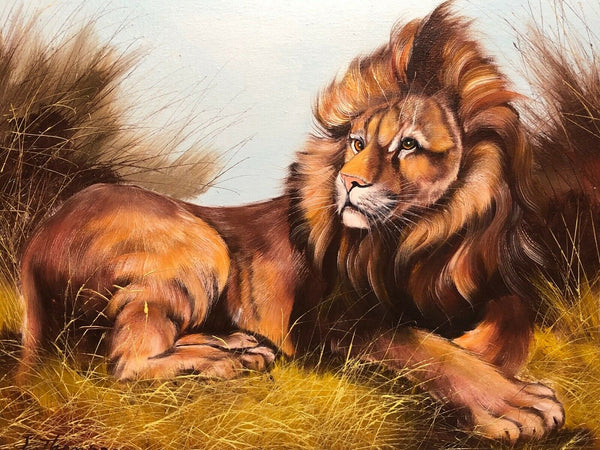 Fine Art Vintage 20th Century Oil Canvas Painting Recumbent Lion Portrait Signed