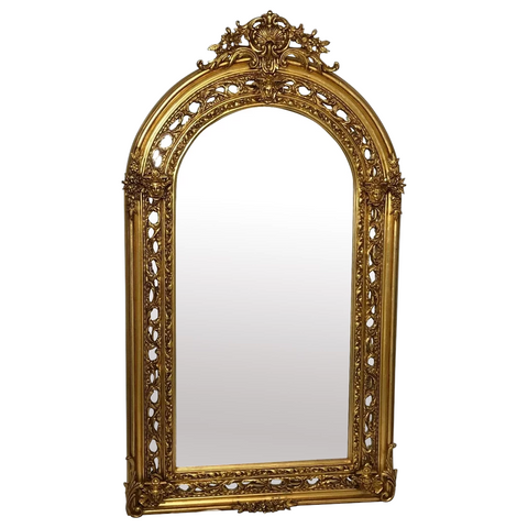 Extra Large French Napoleon III Style Sphinx Gilt Pier Glass Wall Floor Mirror