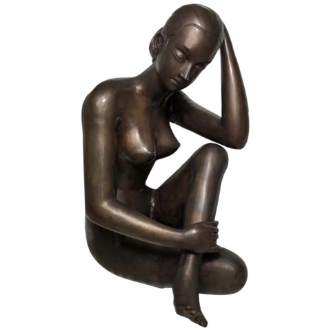 Attractive Vintage 20th Century Bronze Erotic Sexy Tribal Nude Lady Sculpture