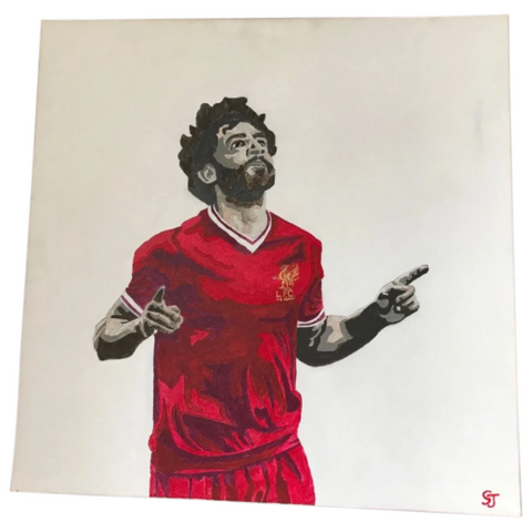 Impressionist Portrait Painting Football Celebrity Striker Liverpool Mo Salah