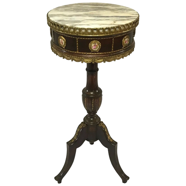 1 Fine French Neoclassical Style Gilt Ormolu Round Marble Top Small Side Table