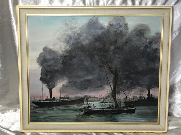 English School Marine Oil Painting London Docks River Busy Thames Steam Ships