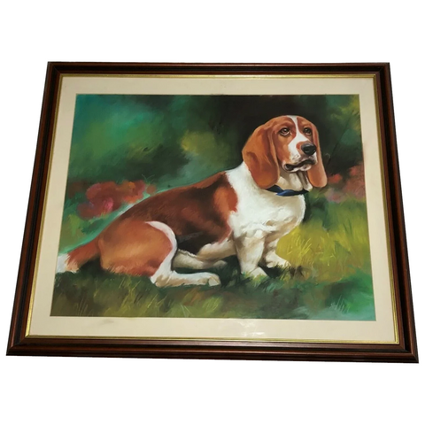 British Pastel Drawing Portrait Beagle Hunting Dog After Florence Mabel Hollams