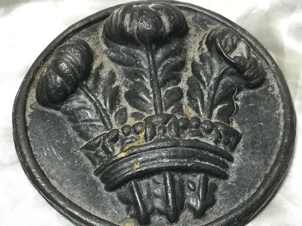 Victorian 19th Century Royal Coat Of Arms Prince Wales Antique Lead Wall Heraldic Plaque