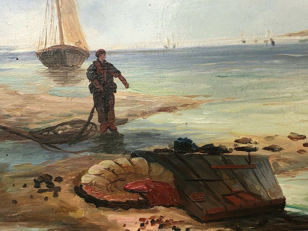 Fine Dutch Marine Art Oil Painting Sailing Fishing Boats Harbour Port Windmill