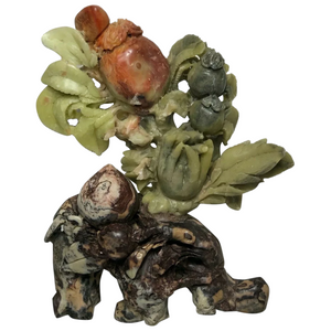 Qing Style Chinese Soapstone Passion Fruit Lotus Carved Sculpture