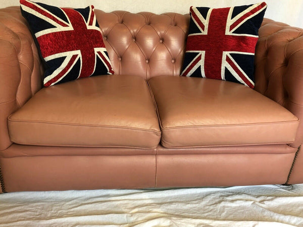1 Handmade Vintage 20th Century Leather Chesterfield Sofa 2 Seater Salmon Pink
