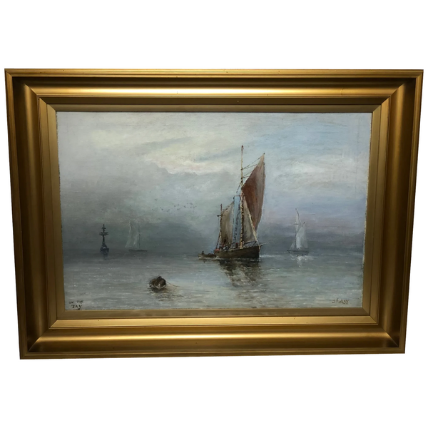 Scottish Marine Oil Painting Sailing Fishing Boats On The Tay Estuary By Dundee