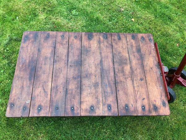 English Vintage Railway Willmot Trolley Oak Iron Plank Top Coffee Wheel Table
