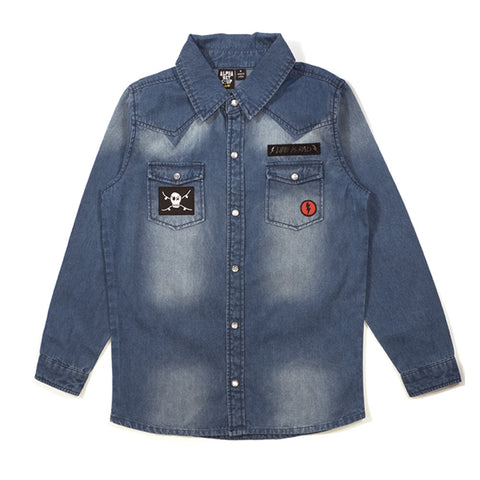 Denim Shirt - Alphabet Soup