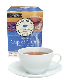 Cup of Calm tea from Traditional Medicinals for calming and relaxing.