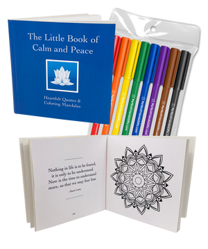 Display of the front of The Little Book of Calm and Peace:  Heartfelt Quotes & Coloring Mandalas with eight markers displayed on the side and a sample page opened with quote on left and mandala on the right side of the page.
