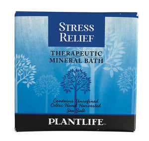 Blue Box of Stress Relief Therapeutic Mineral Bath Salts by PlantLife.  Contains unrefined Celtic Hand Harvested Sea Salt.