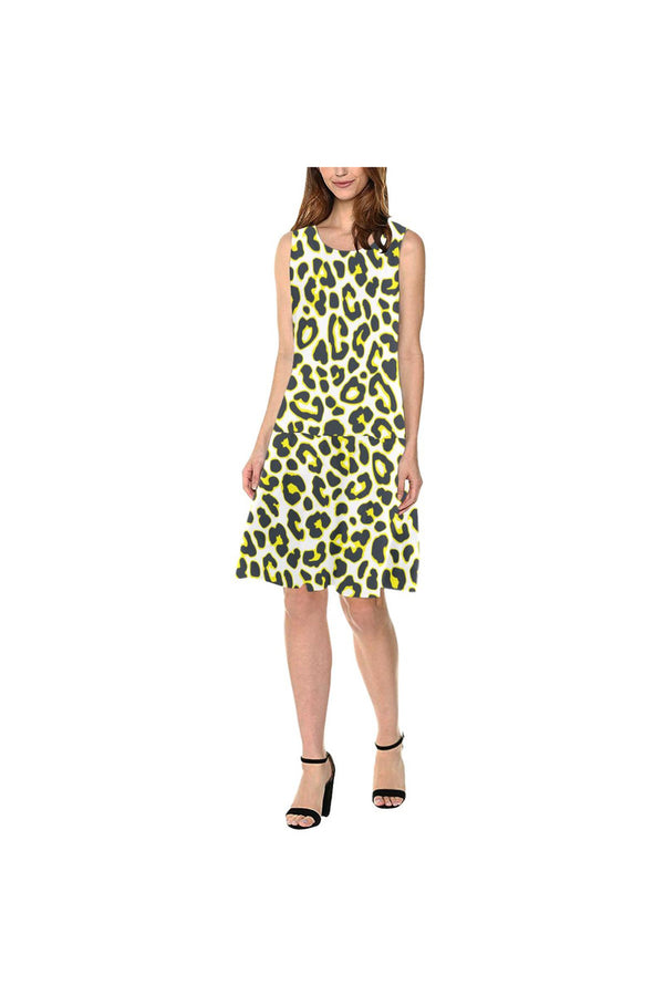 Leopard Print Sleeveless Splicing Shift Dress(Model D17)