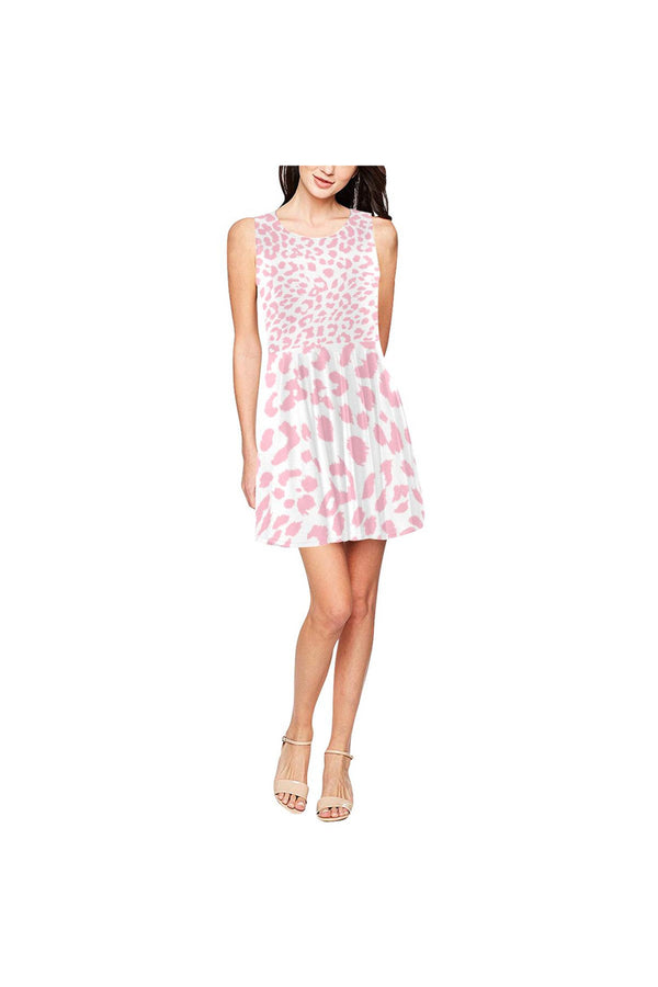 Pink Leopard Thea Sleeveless Skater Dress(Model D19)