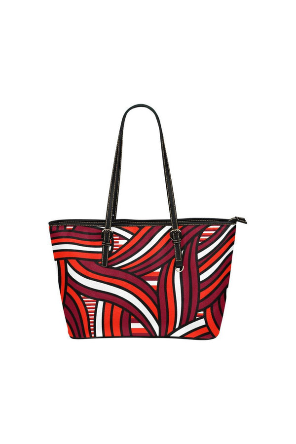 Abstract Strands Leather Tote Bag/Small