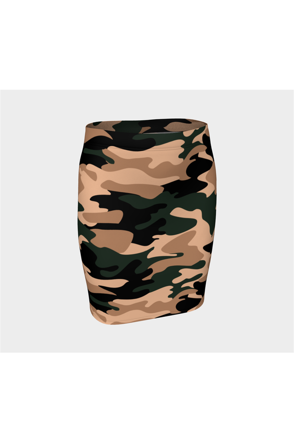 Nude Tone Camouflage Fitted Skirt