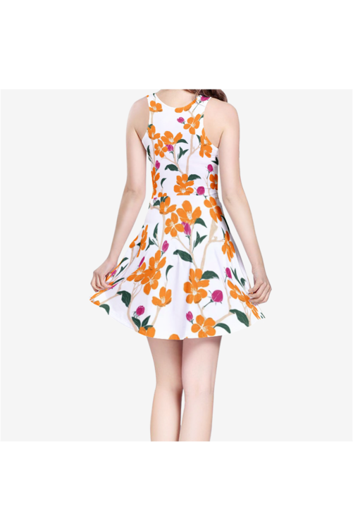 Floral Menagerie Women's Sleeveless Midi Casual Flared Skater Dress