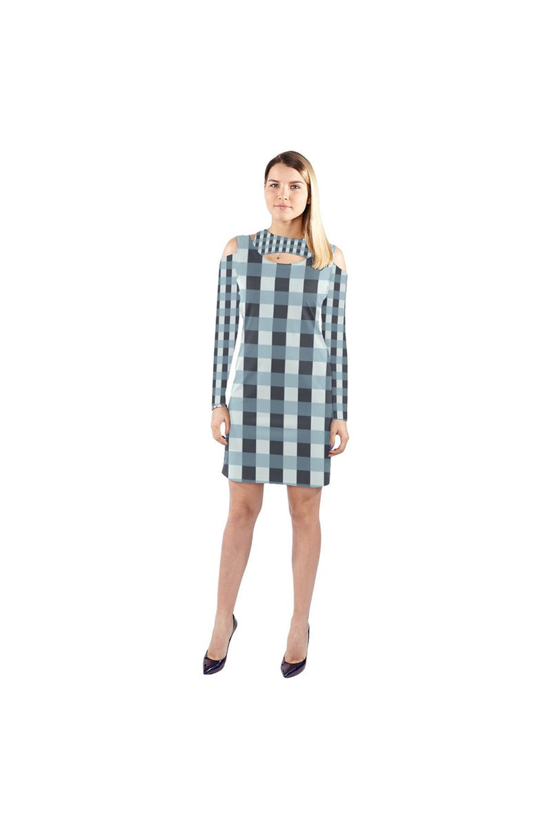 Tartan Turquoise Cold Shoulder Long Sleeve Dress