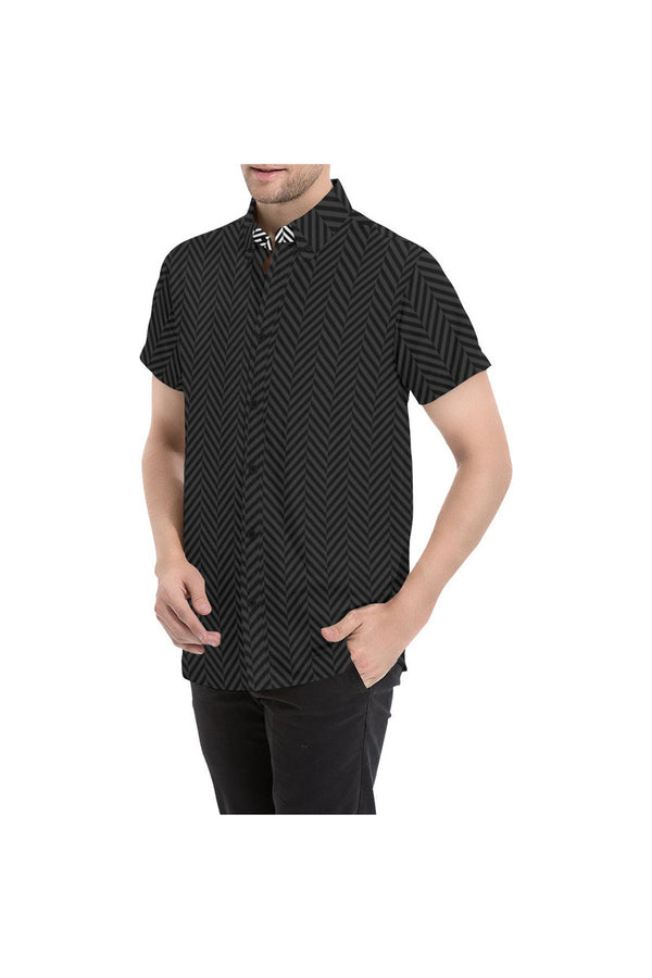 Herringbone Dark Men's All Over Print Short Sleeve Shirt/Large Size (Model T53)