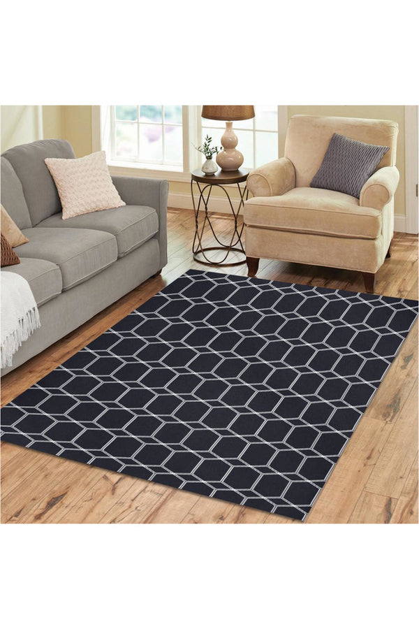 Hexagon Print Area Rug7'x5'