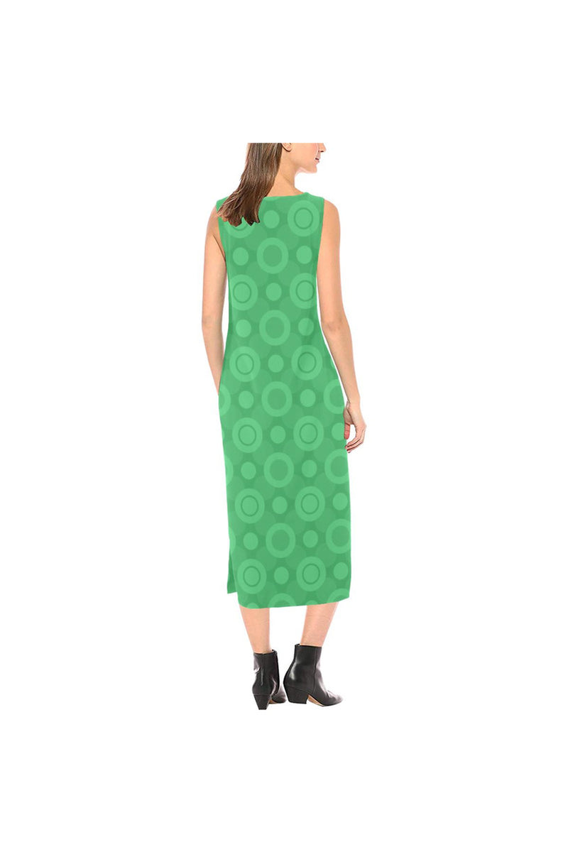 Go Green Phaedra Sleeveless Open Fork Long Dress