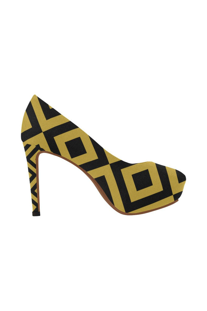 Black & Gold Diamonds Women's High Heels - Objet D'Art Online Retail Store