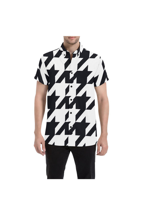 Houndstooth Large Men's All Over Print Short Sleeve Shirt/Large Size - Objet D'Art Online Retail Store