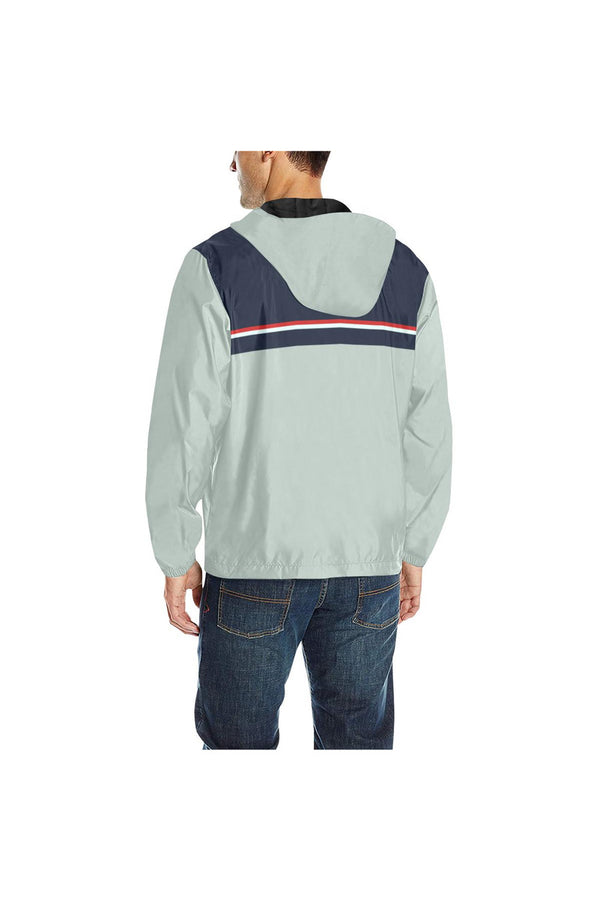 Blue & Gray Quilted Windbreaker for Men