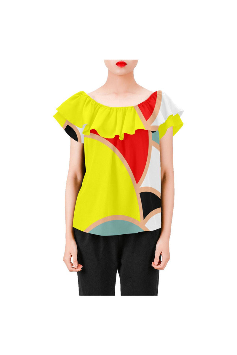 Sunny and Bright Women's Off Shoulder Blouse with Ruffle - Objet D'Art Online Retail Store