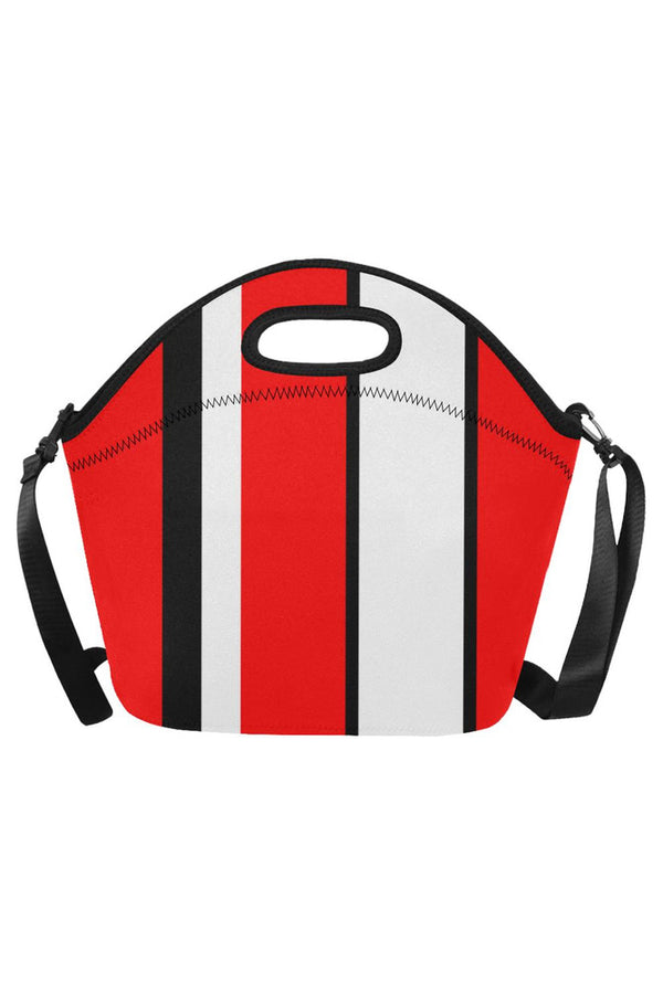 red black white stripe Neoprene Lunch Bag/Large (Model 1669)