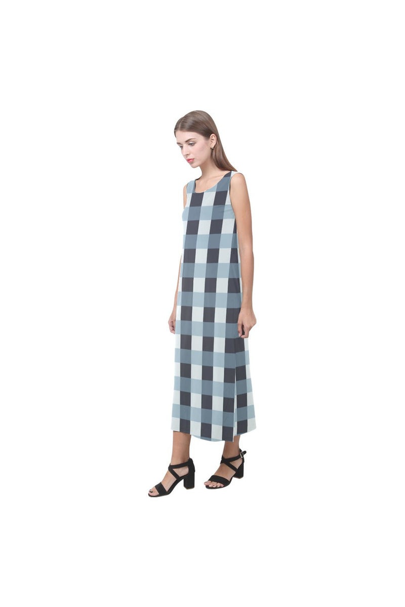 Tartan Turquoise Phaedra Sleeveless Open Fork Long Dress