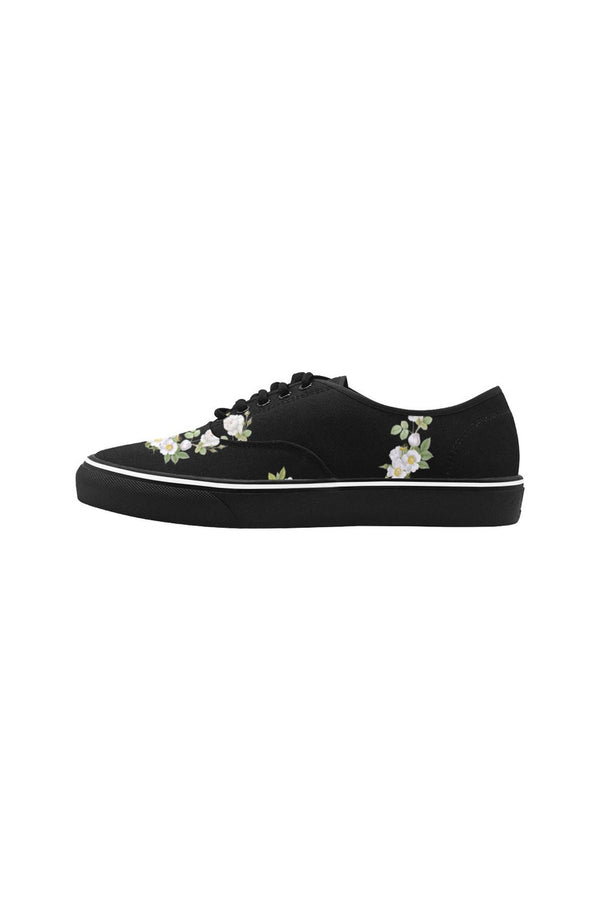 White Floral Classic Women's Canvas Low Top Shoes (Model E001-4)