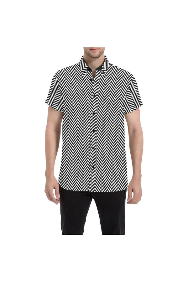 Herringbone Men's All Over Print Short Sleeve Shirt/Large Size (Model T53)