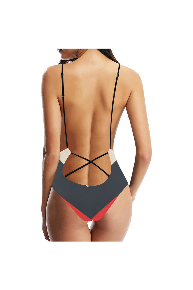 Chevron Sexy Lacing Backless One-Piece Swimsuit - Objet D'Art Online Retail Store