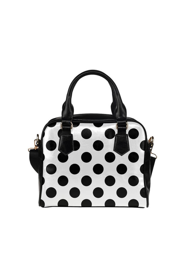White & Black Polkadots Shoulder Handbag (Model 1634)