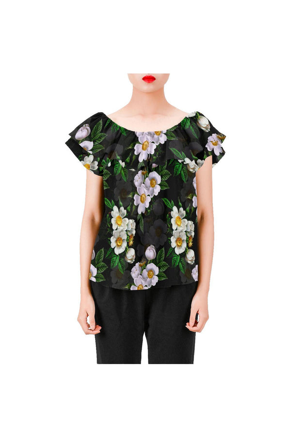 White Roses Women's Off Shoulder Blouse with Ruffle (Model T29)