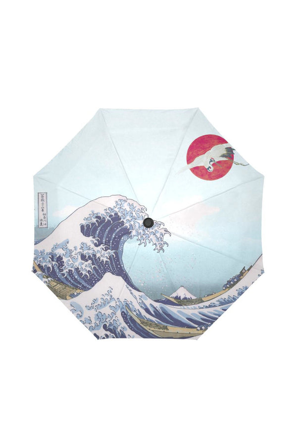 Great Wave & Crane in Sun Auto-Foldable Umbrella (Model U04)