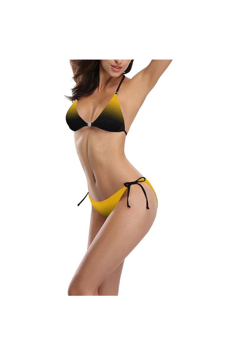 Fade Black Buckle Front Halter Bikini Swimsuit