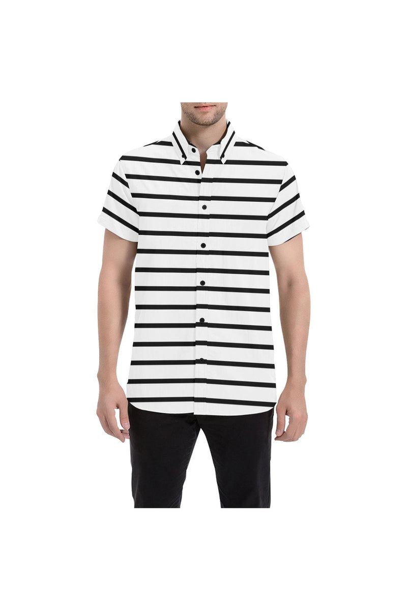 Horizontal Stripe Men's All Over Print Short Sleeve Shirt - Objet D'Art Online Retail Store