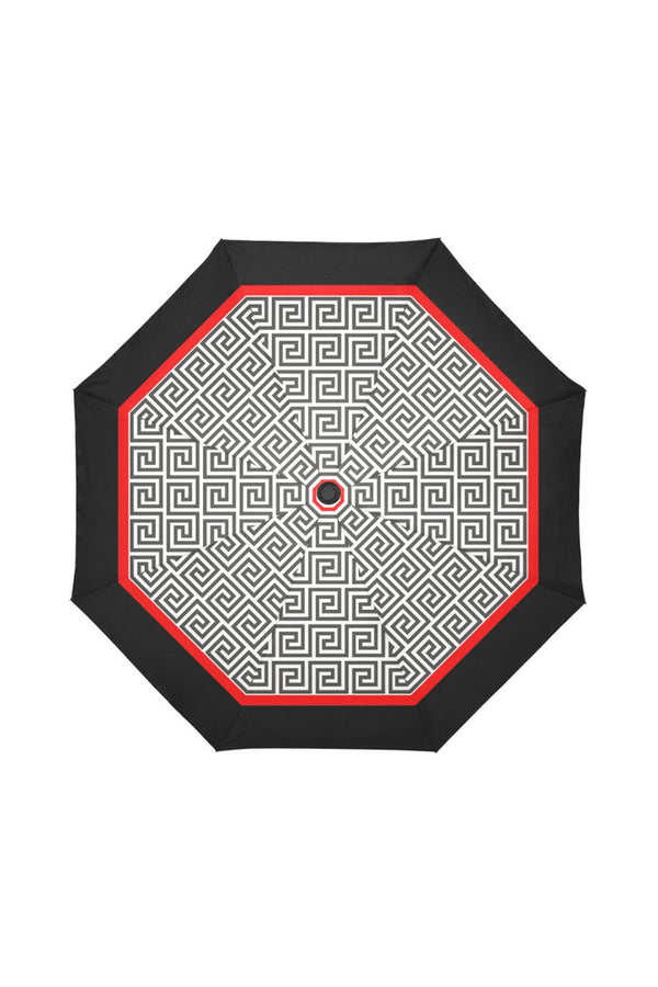 Greek Key Red & Black Auto-Foldable Umbrella (Model U04) - Objet D'Art Online Retail Store